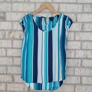 Lucky Brand Blue Stripe Silk Sleeveless Shirt